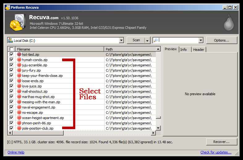 Recuva - Select Files